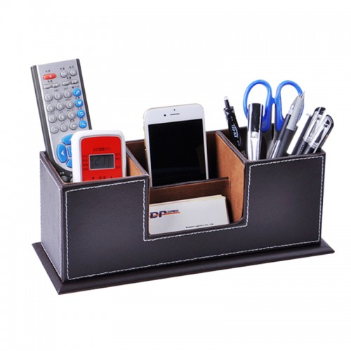 Charming OEM   Wood Leather Desk Namecard Mobile Holder Box Case Container Office  Accessories Brown