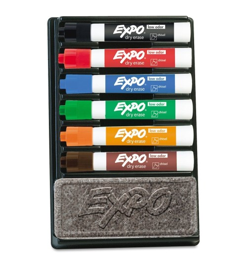 OEM - 6 Expo Dry Erase Markers Organizer Kit Assorted Colors Chisel Tip Eraser Pack