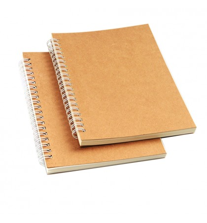 JIMSHOP - B6 Kraft Cover Spiral Notebook Sheets 100gsm Writing Paper