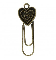 OEM - 60 Pcs Paper Clip Bookmarks Bronze Tone For Books Heart Shape