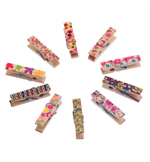 OEM - Mini Cute Colorful 100PCs Mixed Wooden Photo Clothespin Paper Postcard